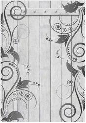 Wandbild Graue Holztür mit Schnörkelmuster – Bild 1