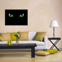 Wandbild Grüne Katzenaugen bei Nacht – Bild 2