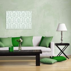 Wandbild Königliche Schnörkelei in weiß und grün – Bild 2