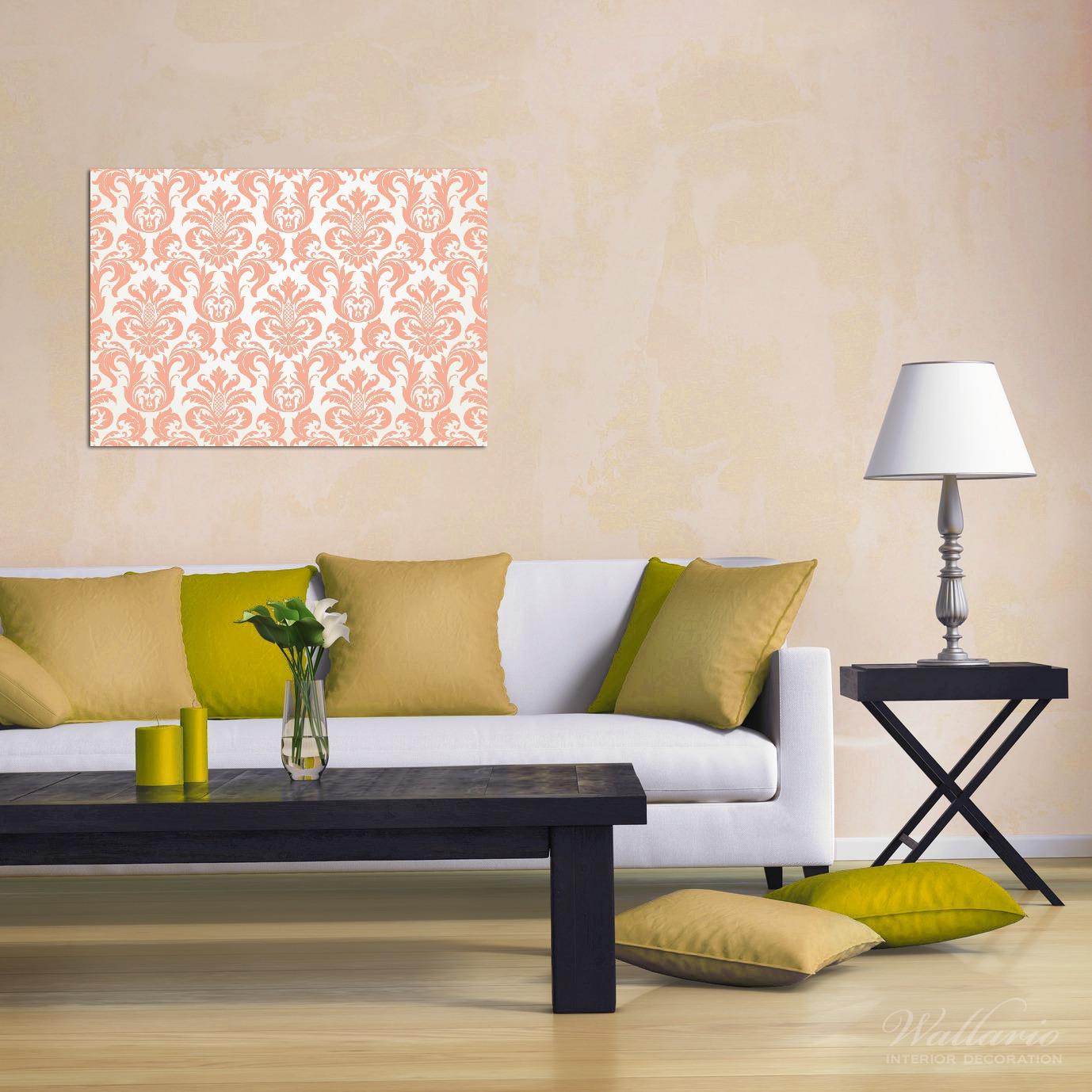 Wandbild Königliche Schnörkelei in weiß und orange – Bild 2