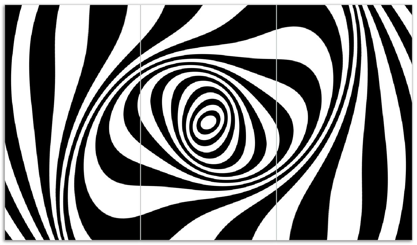 Herdabdeckplatte Optische Täuschung - Zebra Muster - schwarz weiß – Bild 1