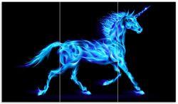 Herdabdeckplatte Design Einhorn - aus blauen Flammen