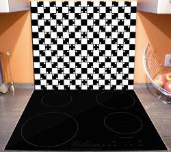 Herdabdeckplatte Optische Täuschung - Illusion - schwarz weiß  – Bild 3