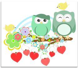 Herdabdeckplatte Bunte Eulen mit kleinen Vögeln auf dem Ast – Bild 1