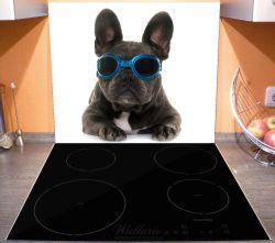 Herdabdeckplatte Cooler Hund mit Sonnenbrille in blau - Französische Bulldogge – Bild 3