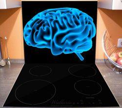 Herdabdeckplatte Menschliches Gehirn in leuchtend blauer Farbe – Bild 3