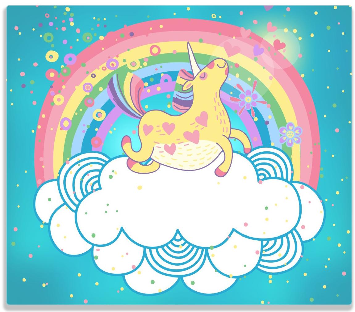 Herdabdeckplatte Lustiges Einhorn auf einer Wolke vor Regenbogen – Bild 1