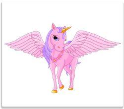 Herdabdeckplatte Rosa Einhorn mit großen Flügeln – Bild 1
