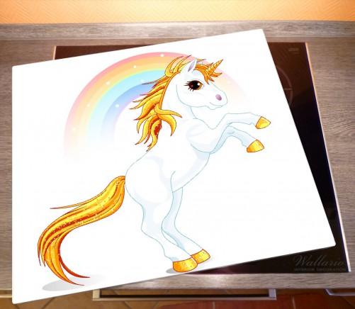 Herdabdeckplatte Weißes Einhorn vor einem Regenbogen – Bild 2