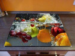 Herdabdeckplatte Früchte im und unter Wasser - Splashing Fruits – Bild 2