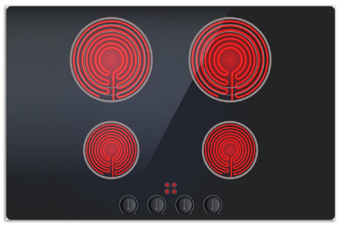 Herdabdeckplatte Aktives Cerankochfeld Induktionskochfeld Optik - Standard schwarz rot  mit 4 Kochplatten und Bedienfeld – Bild 1