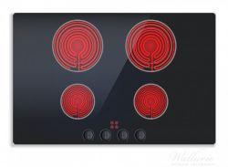 Herdabdeckplatte Aktives Cerankochfeld Induktionskochfeld Optik - Standard schwarz rot  mit 4 Kochplatten und Bedienf