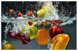 Herdabdeckplatte Früchte im und unter Wasser - Splashing Fruits – Bild 1