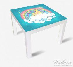 Möbelfolie Lustiges Einhorn auf einer Wolke vor Regenbogen – Bild 2