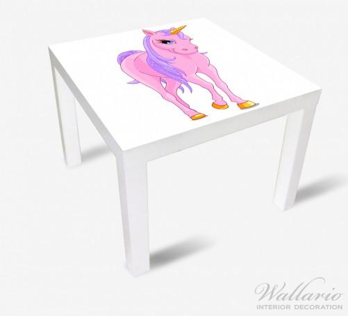 Möbelfolie Einhorn in rosa mit Schweif in lila II – Bild 2