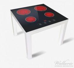 Möbelfolie Aktives Cerankochfeld Induktionskochfeld Optik - Standard schwarz rot  mit 4 Kochplatten und Bedienf – Bild 2