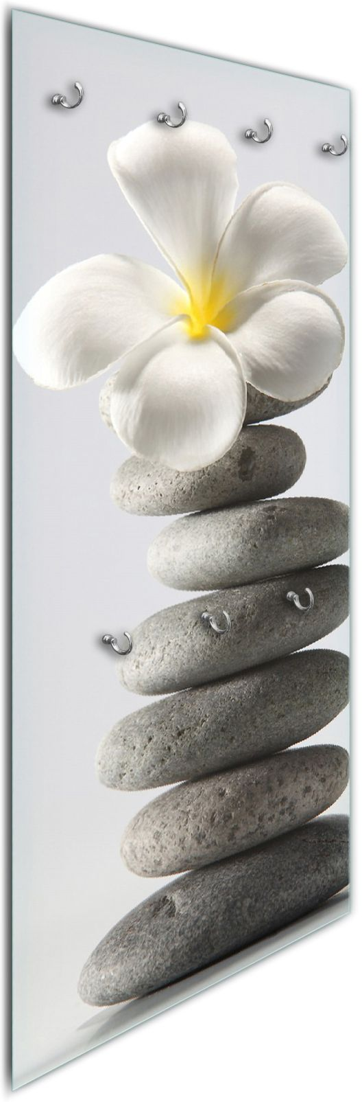 Glasgarderobe Blume auf gestapelten Steinen – Bild 1