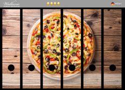 Ordnerrücken Sticker Italienische Pizza mit Peperoni, Oliven. Paprika und Käse