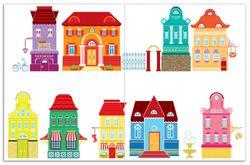 Herdabdeckplatte Bunte Häuser in einer Stadt - Comic Stil – Bild 1