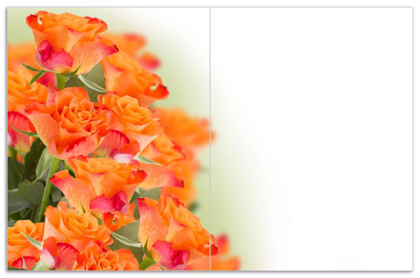 Herdabdeckplatte Orangene Rosenblüten im Strauß  – Bild 1