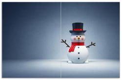 Herdabdeckplatte Winterstimmung - Frecher Schneemann mit Zylinder und rotem Schal – Bild 1