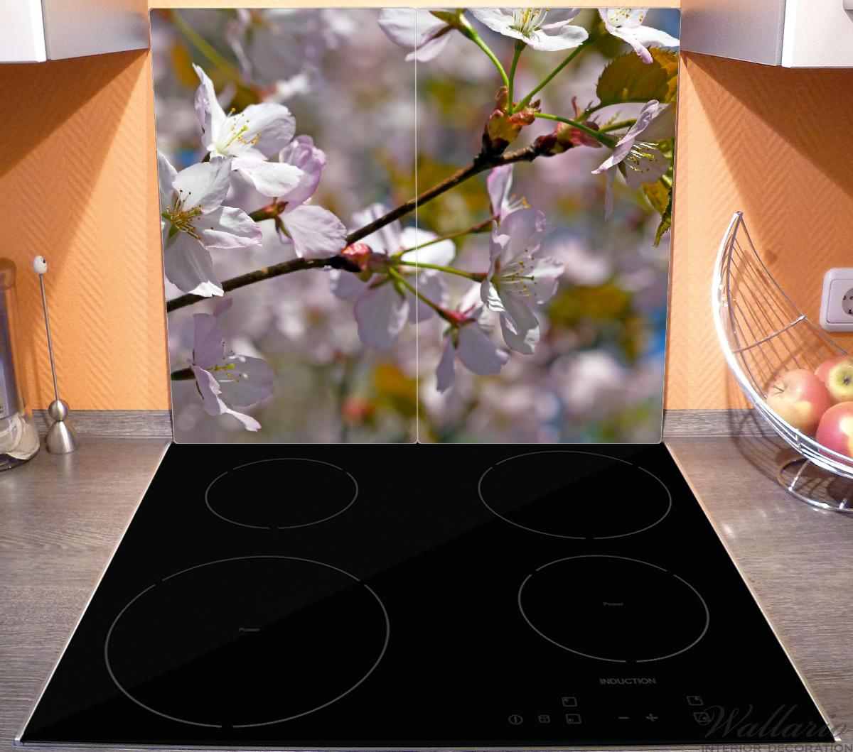 Herdabdeckplatte Kirschblüten in zartem Rosa - Frühling im Garten – Bild 3