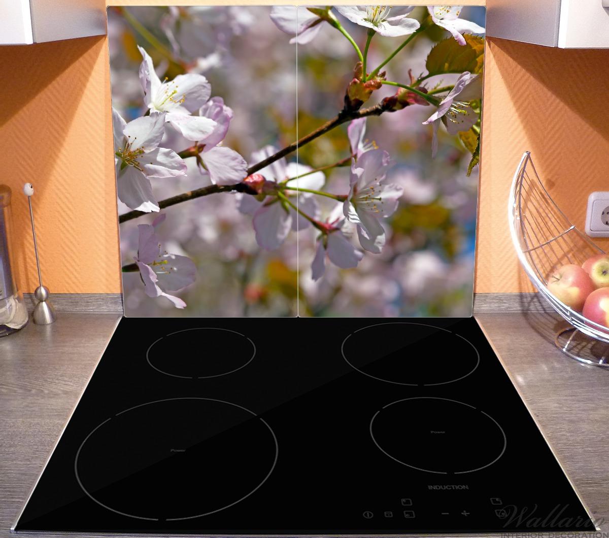 Herdabdeckplatte Kirschblüten in zartem Rosa - Frühling im Garten – Bild 4