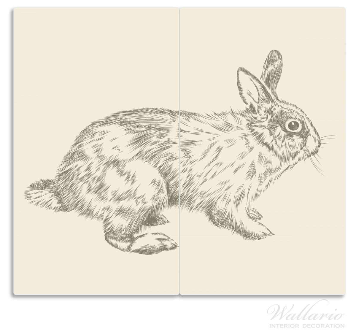 Herdabdeckplatte Hase als illustrierte Bleistiftzeichnung – Bild 1
