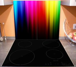 Herdabdeckplatte Bunte Regenbogenstreifen auf Schwarz – Bild 3