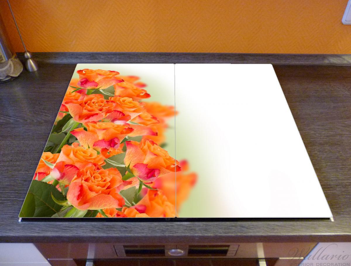 Herdabdeckplatte Orangene Rosenblüten im Strauß  – Bild 2