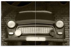Herdabdeckplatte Alter Trabbi in schwarz-weiß - Frontansicht Scheinwerfer – Bild 1