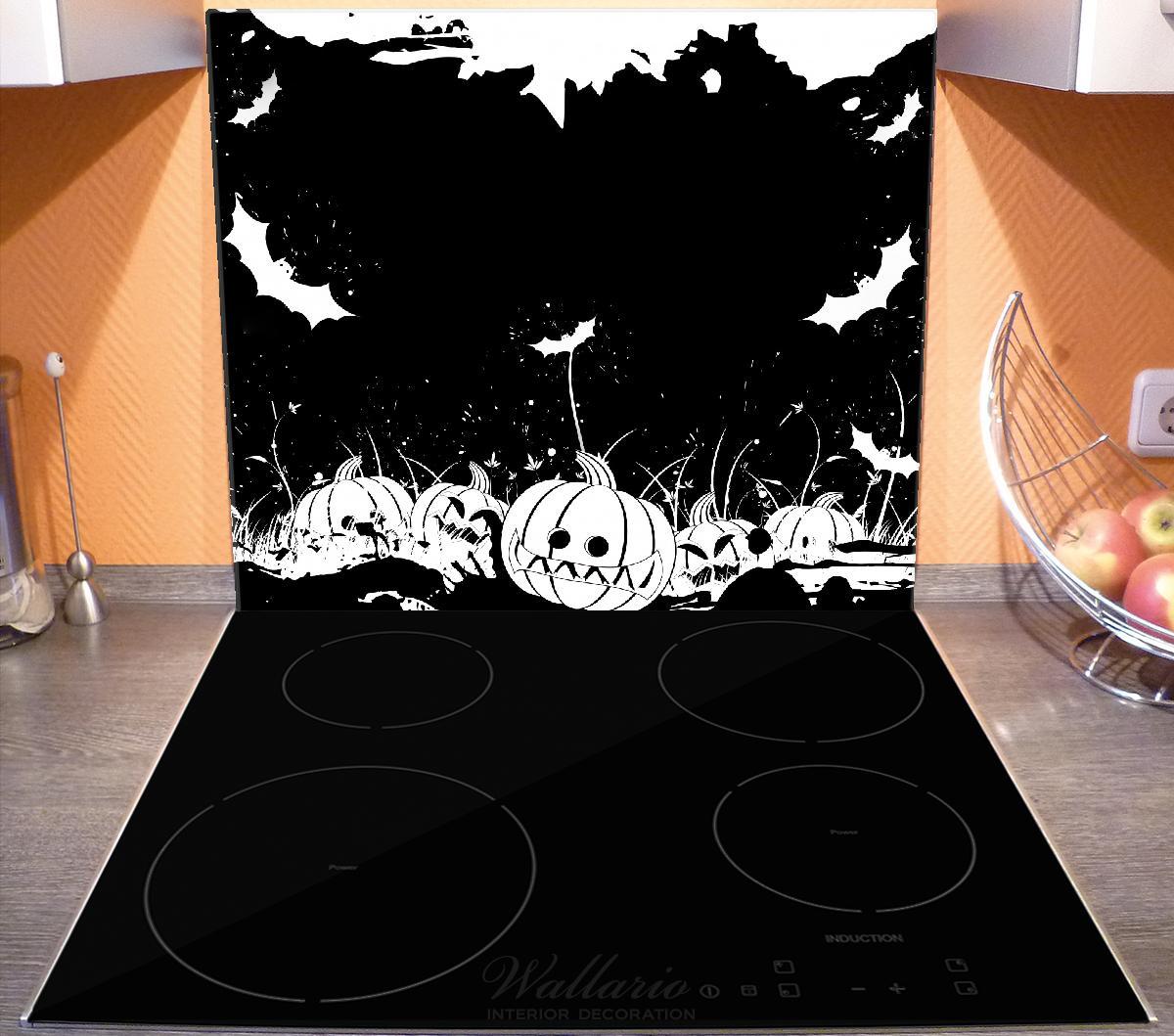 Herdabdeckplatte Halloween - Kürbisse und Fledermäuse in schwarz-weiß, Comic Stil – Bild 3