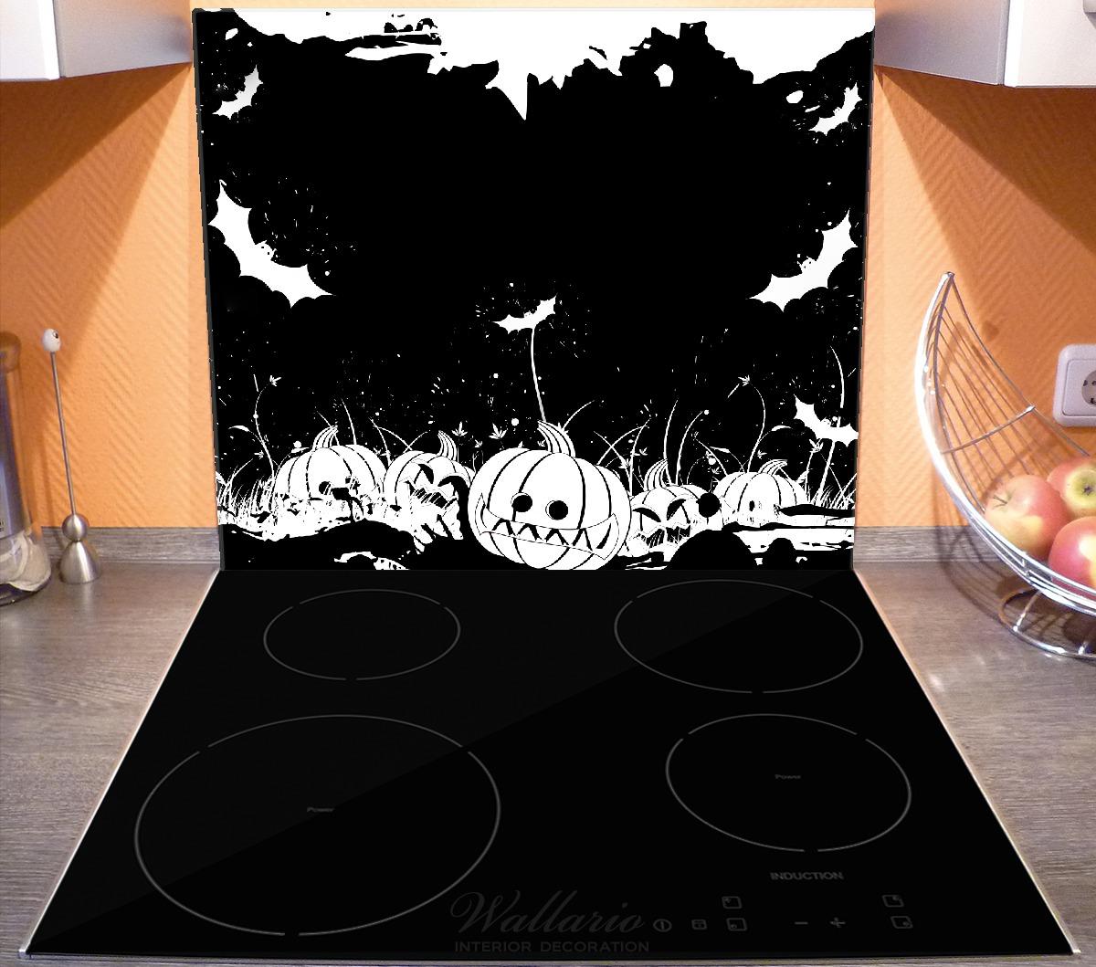 Herdabdeckplatte Halloween - Kürbisse und Fledermäuse in schwarz-weiß, Comic Stil – Bild 4