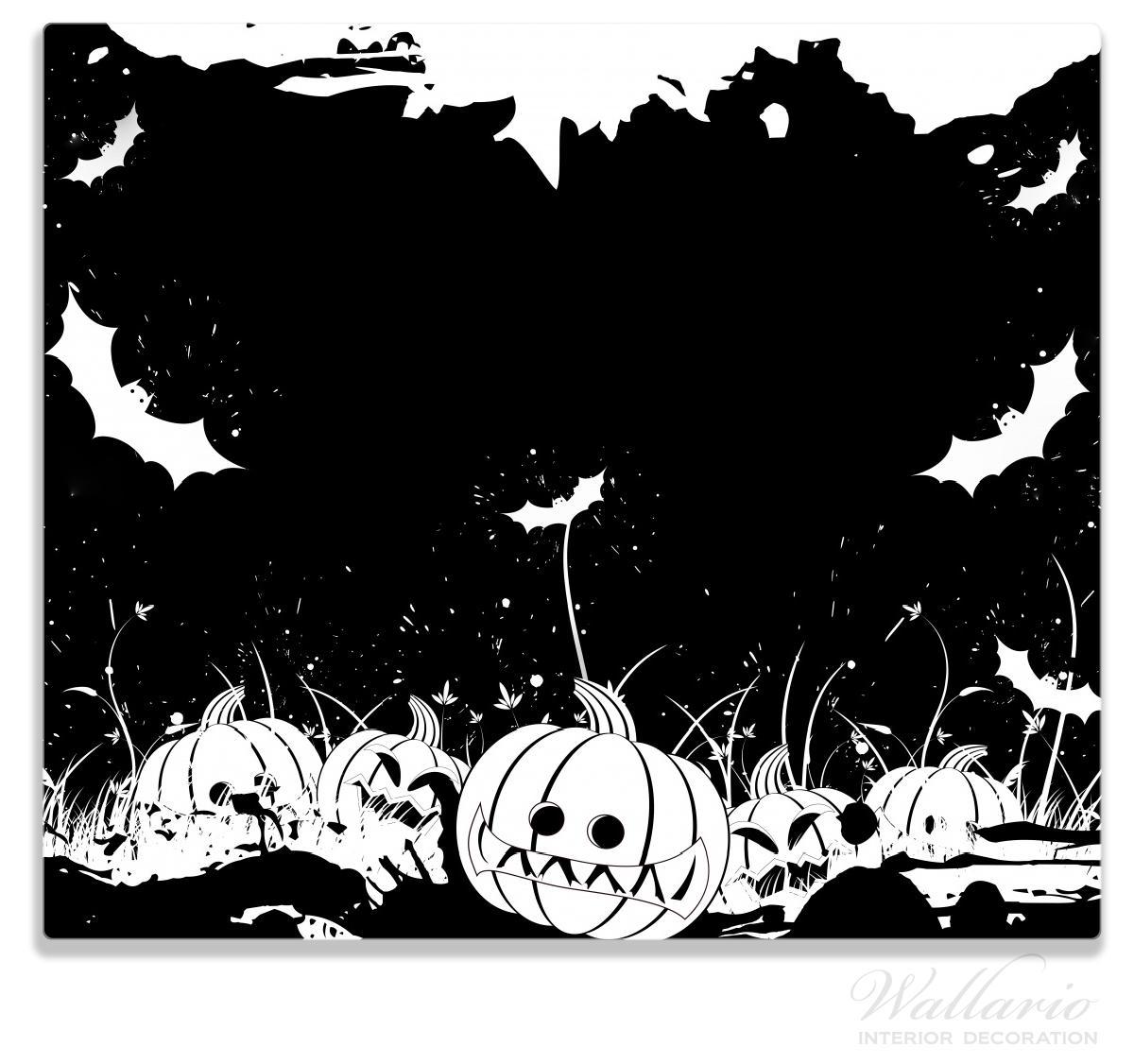 Herdabdeckplatte Halloween - Kürbisse und Fledermäuse in schwarz-weiß, Comic Stil – Bild 1