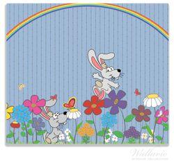 Herdabdeckplatte Süße Hasen unter einem Regenbogen – Bild 1