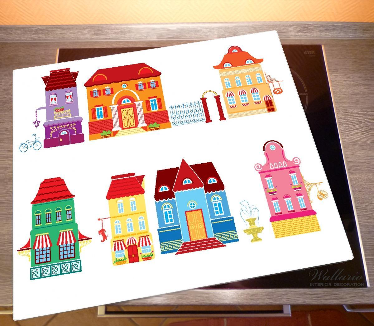 Herdabdeckplatte Bunte Häuser in einer Stadt - Comic Stil – Bild 2
