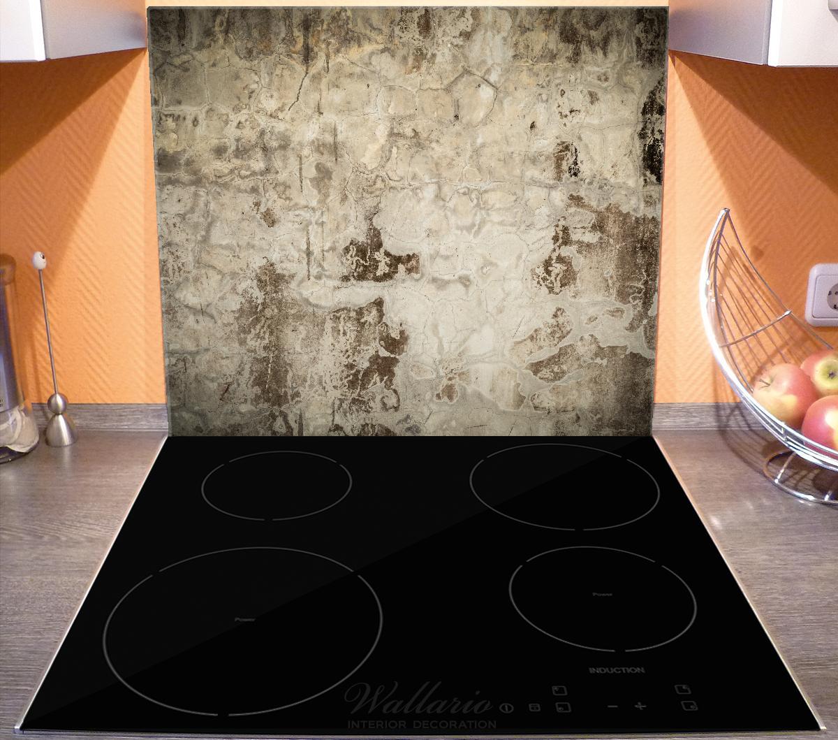 Herdabdeckplatte Alte schmutzige Wand aus Beton mit abblätternder Farbe – Bild 3