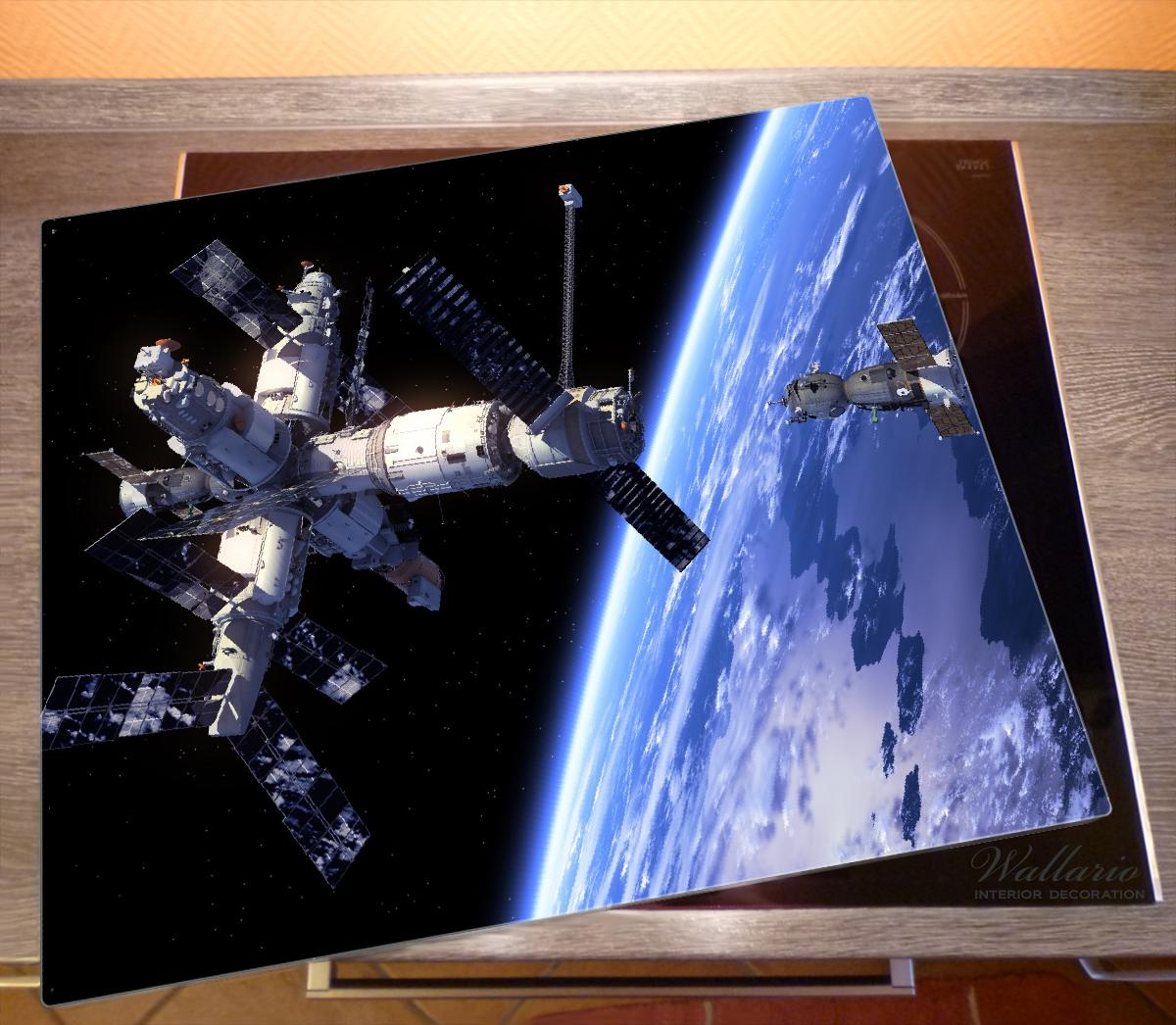 Herdabdeckplatte Raumfahrt - Raumstation und Raumschiff im Weltall – Bild 2