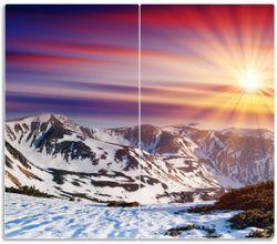 Herdabdeckplatte Farbenfroher Sonnenuntergang im Winter - Schnee in den Bergen – Bild 1