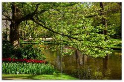 Herdabdeckplatte Bunte Blumen im Park am Wasser - Frühblüher am Ufer – Bild 1