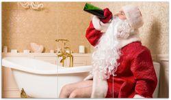 Herdabdeckplatte Betrunkener Weihnachtsmann mit Weinflasche auf dem Klo – Bild 1