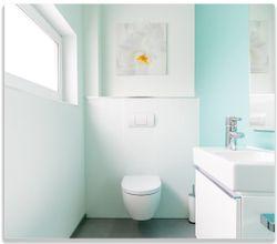 Herdabdeckplatte Badezimmer Gästetoilette Innenansicht - WC und Waschbecken – Bild 1