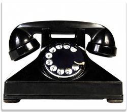 Herdabdeckplatte Altes schwarzes Retro-Telefon mit Wählscheibe frontal – Bild 1