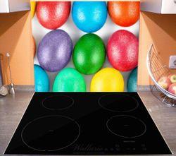 Herdabdeckplatte Bunte Oster-Eier in Nahaufnahme mit kräftigen Farben – Bild 3