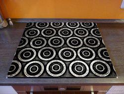 Herdabdeckplatte Abstraktes Kreismuster in schwarz und silber – Bild 2