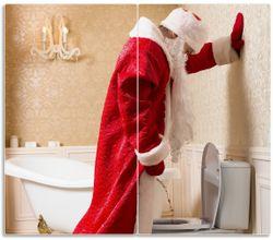 Herdabdeckplatte Weihnachtsmann macht Pause und pinkelt auf edler Toilette – Bild 1