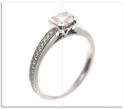 Herdabdeckplatte Silberner Verlobungsring in Nahaufnahme mit Fokussierung – Bild 1