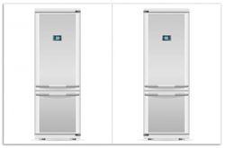 Herdabdeckplatte Abbildung von: Kühlschrank mit Gefrierschrank, grau, mit grauen Griffen – Bild 1