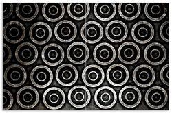 Herdabdeckplatte Abstraktes Kreismuster in schwarz und silber – Bild 1
