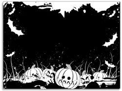 Glasunterlage Halloween - Kürbisse und Fledermäuse in schwarz-weiß, Comic Stil – Bild 1